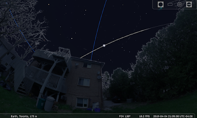 ISS flyover simulated in Stellarium