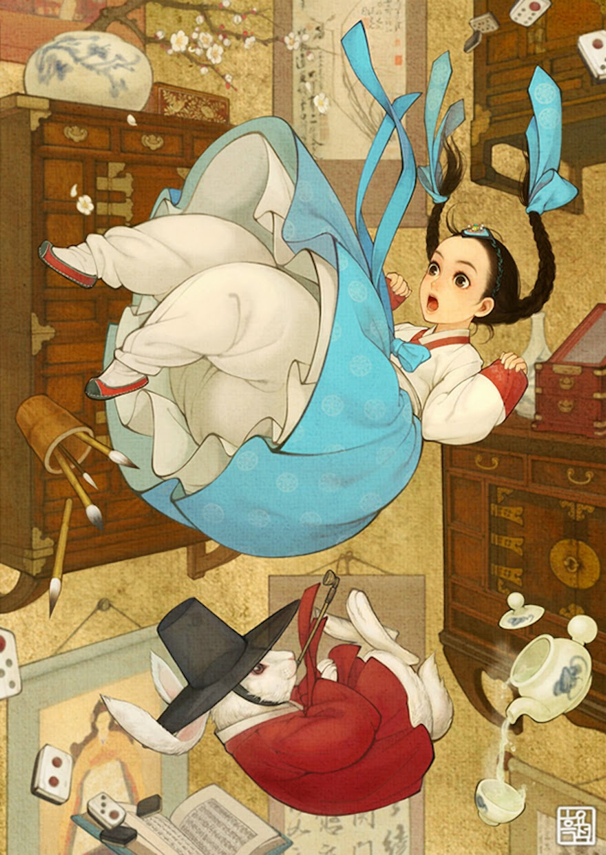 Famous Western Fairytales Get An Eastern Makeover By Korean Artist - Alice In Wonderland