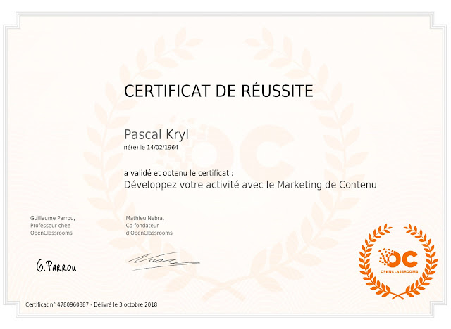 certificat formation Open Classroom Content Marketing