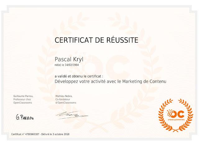 certificat formation Open Classroom Content Marketing