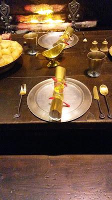 Detalle de la decoración de las mesas, Gryffindor