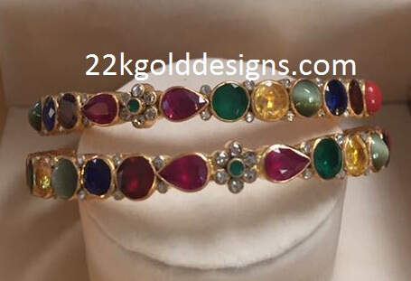 Hand Crafted Navaratna Gemstone Bangles