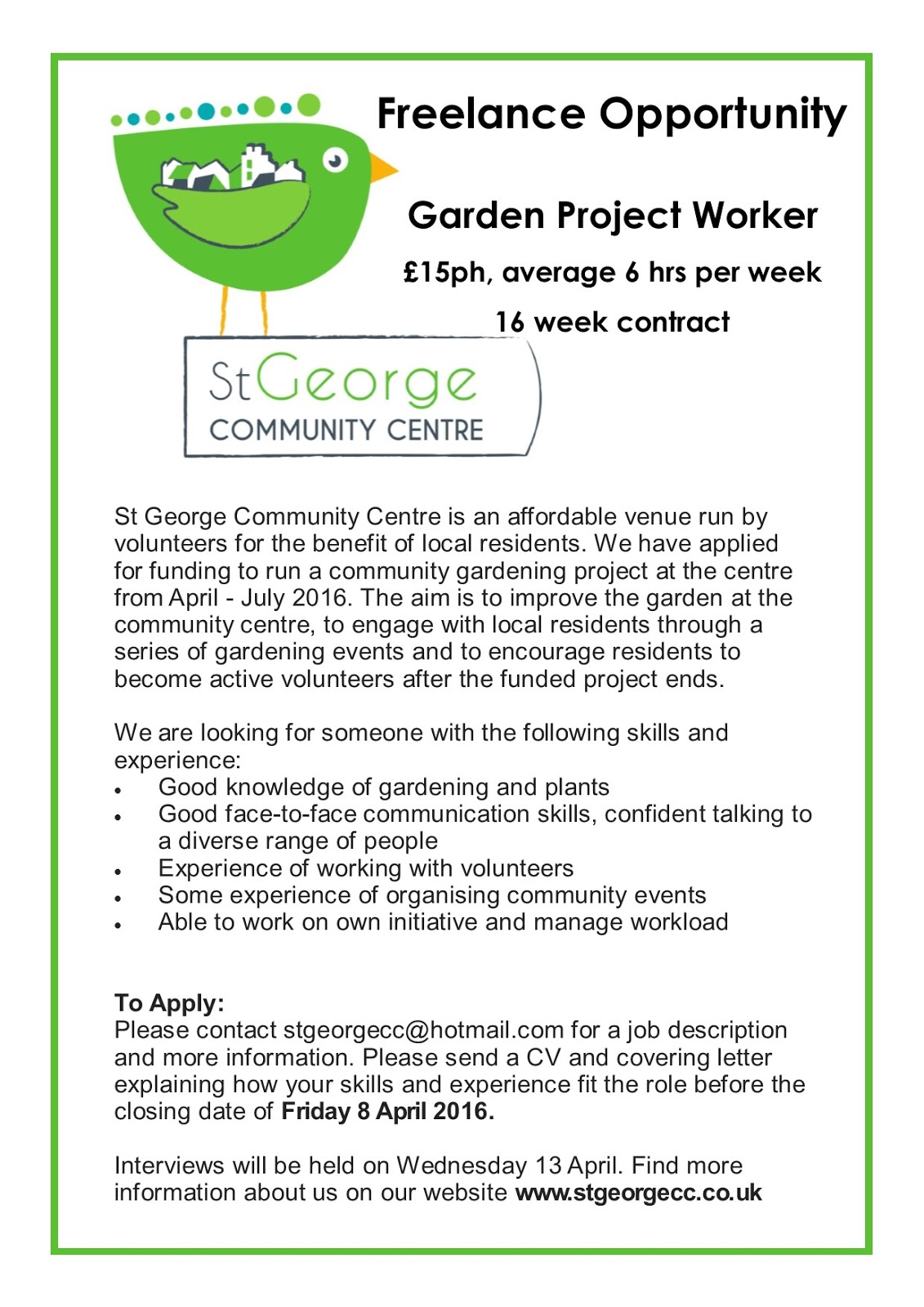 st george community centre lance opportunity
