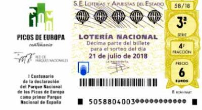detalle de los decimos de loteria nacional celebrado en Covadonga