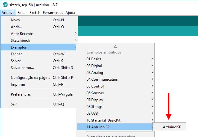 IDE Arduino - Exemplo Arduino ISP