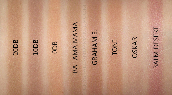 TheBalm Take Home The Bronze Swatches Comparisons Toni Oskar Graham Bahama Mama Balm Desert
