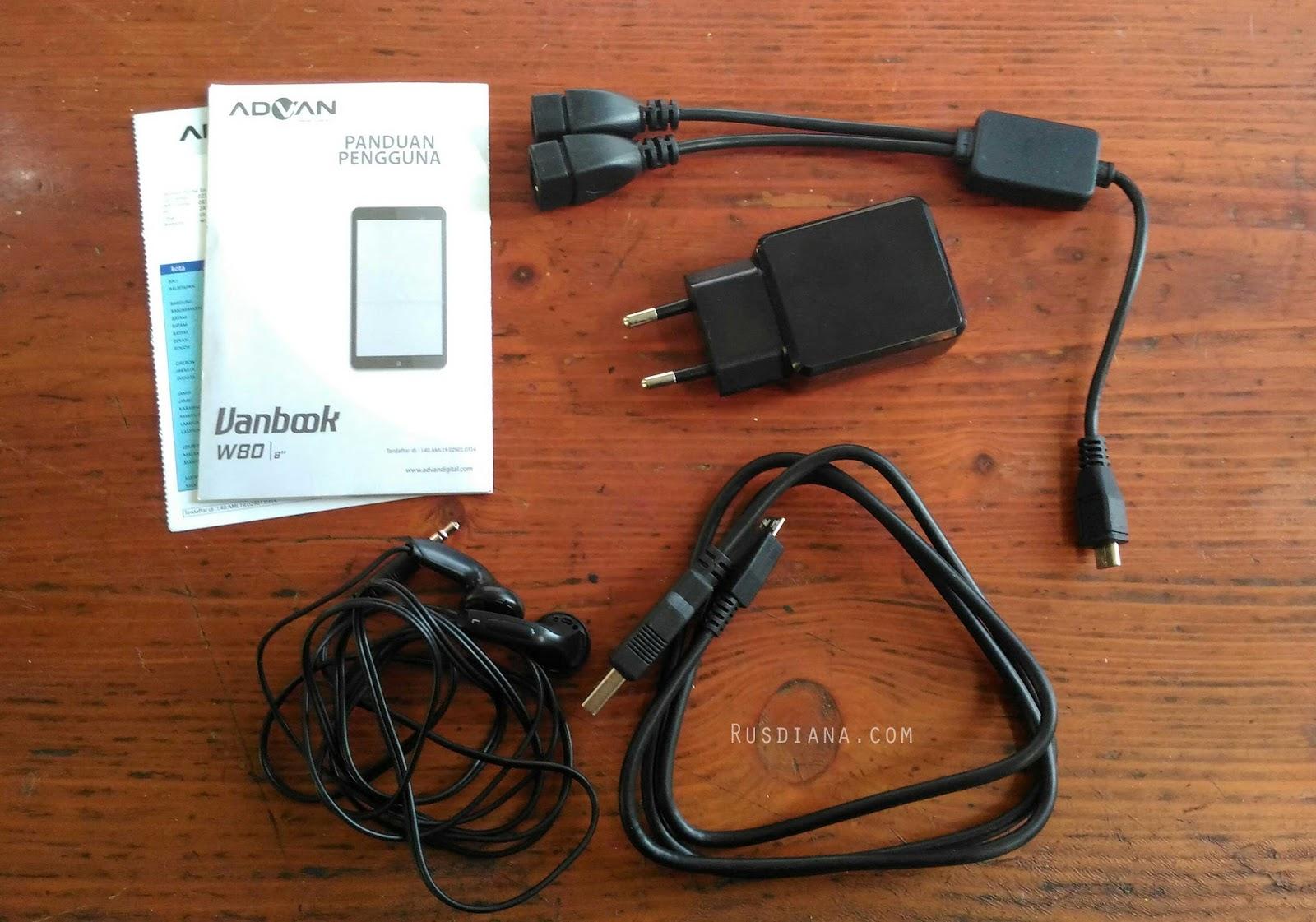 Dalam paket pembelian tablet advan vanbook w80 ini sudah disediakan kabel otg, charger micro usb dan earphone.