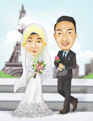 wedding karikatur gaun putih