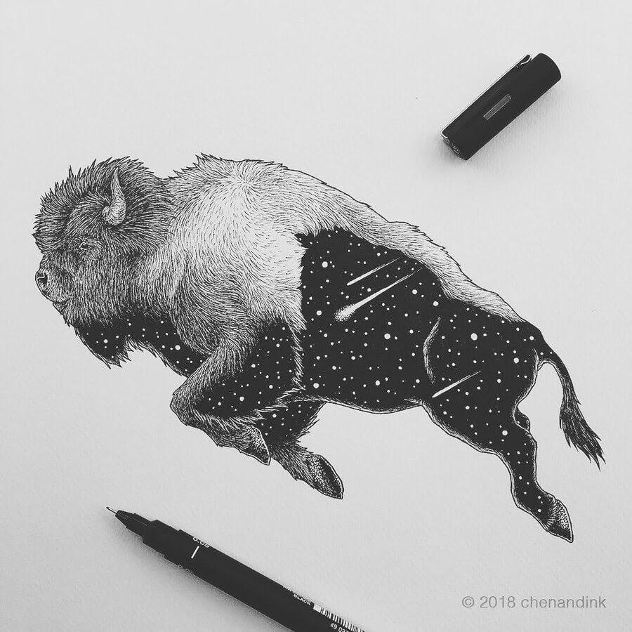 02-Bison-Astral-Animals-Chen-Naje-www-designstack-co
