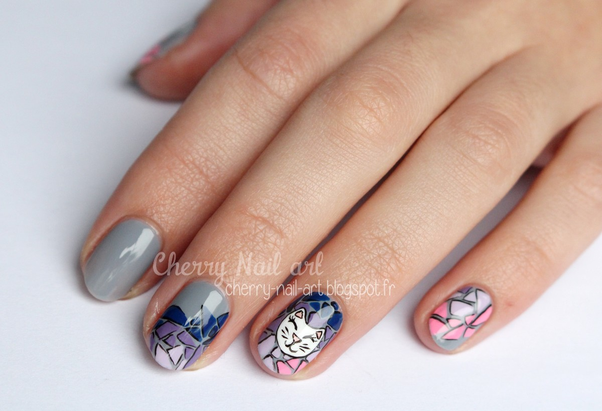 nail art chat mignon et mosaique