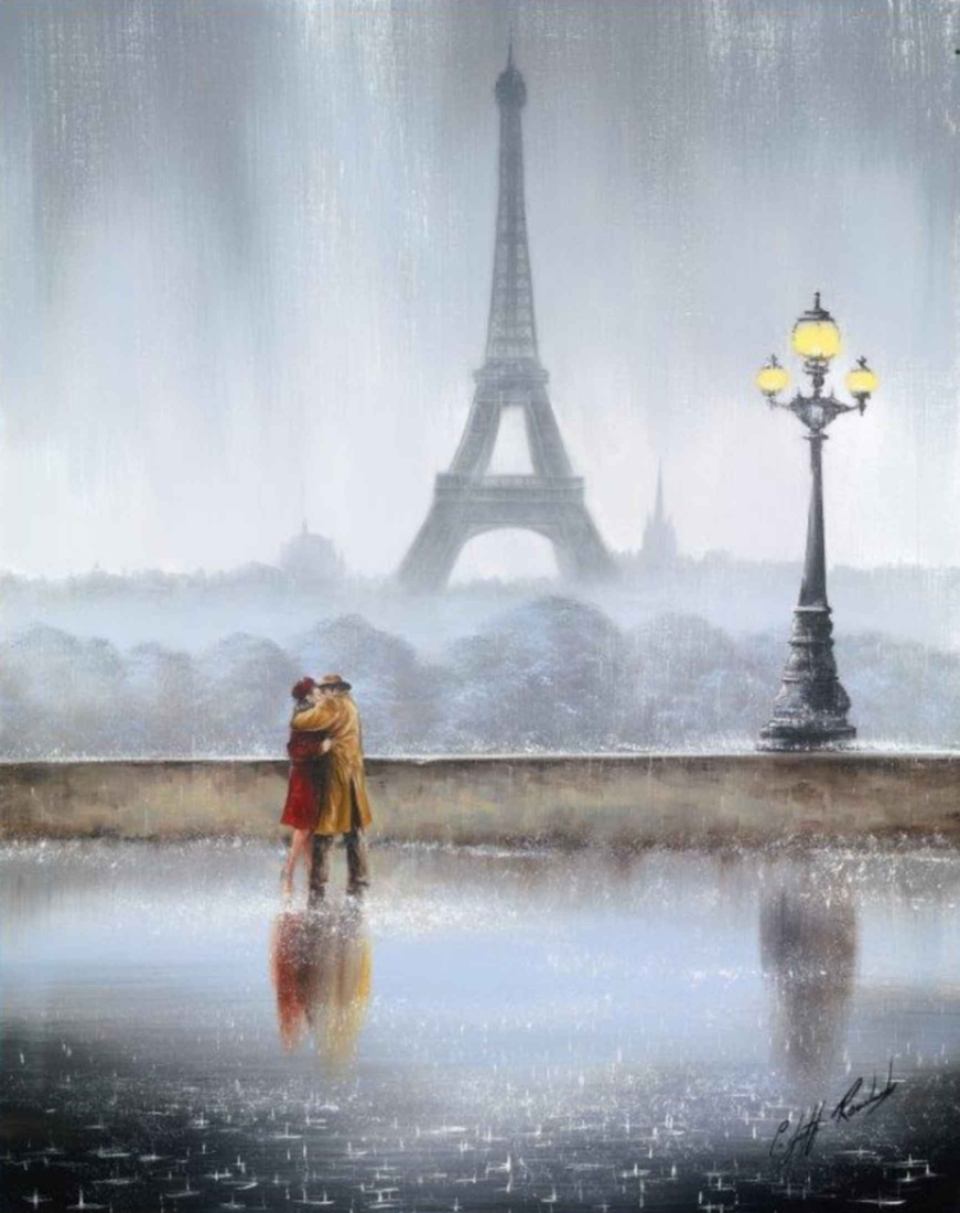 07-The-Embrace-Paris-Jeff-Rowland-Paintings-of-Romantic-Scenes-in-the-Rain-www-designstack-co
