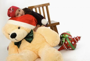 Cozy Cuddles 48in Christmas Teddy Bear with Santa Hat and green bow tie