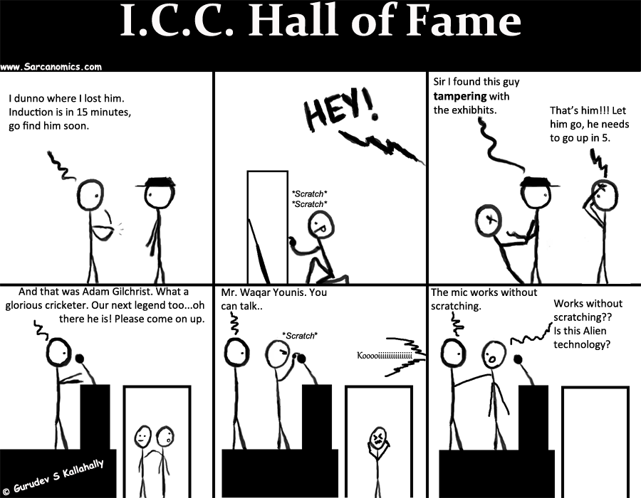 Waqar Younis, Ball tampering, ICC Hall of fame, Adam Gilchrist, 2013, Sarcanomics, comics, webcomics