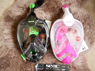 pink and green all in one snorkel mask