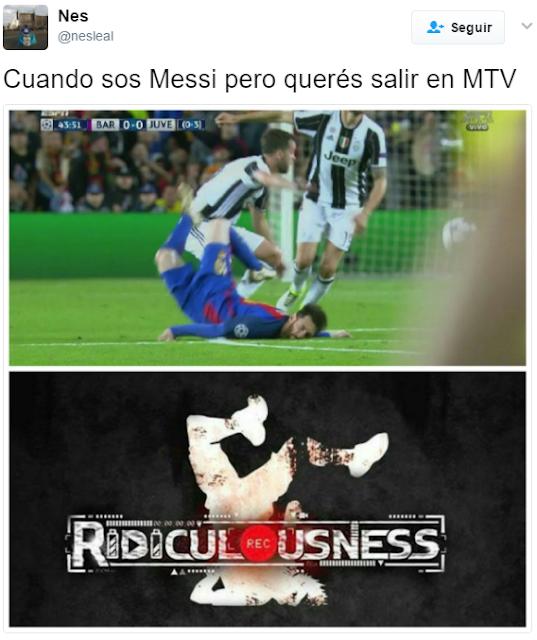 Los memes de Messi cayendo contra la Juventus