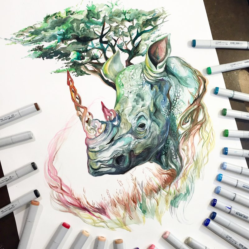 01-Medicinal-Rhino-Rhinoceros-Katy-Lipscomb-Colourful-Drawings-and-Illustrations-www-designstack-co