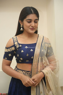Niveda Thomas in Lovely Blue Cold Shoulder Ghagra Choli Transparent Chunni ~  Exclusive Celebrities Galleries 074