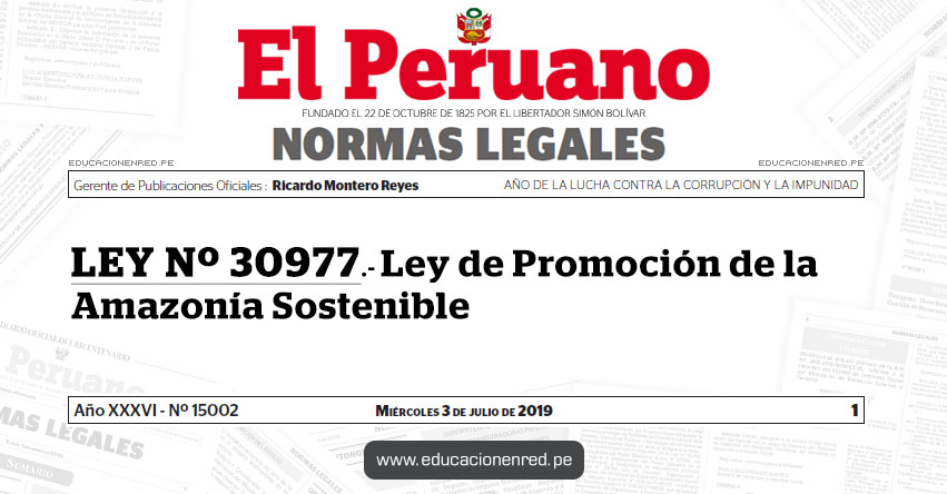 LEY Nº 30977 - Ley de Promoción de la Amazonía Sostenible
