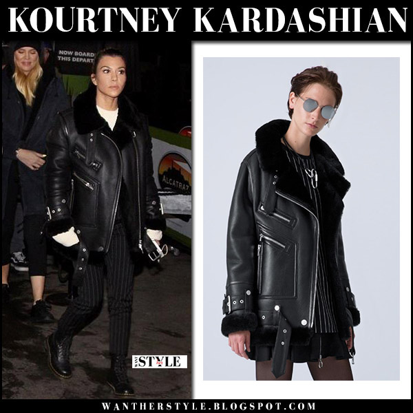 Kourtney Kardashian in black leather shearling jacket the arrivals and black boots dr. martens 1460 fall fashion october 13 2017