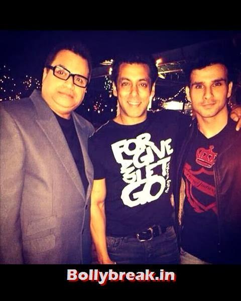 Ramaiya Vastavaiya star Girish Kumar was seen with his father Kumar S Taurani at Salman's bash., Salman Khan Birthday bash Pics