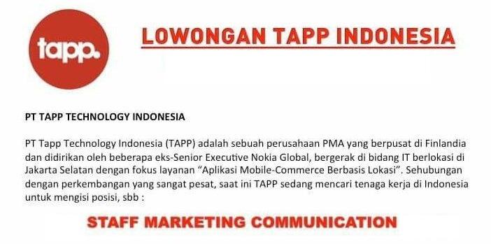 Lowongan Kerja PT. TAPP Technology Indonesia (Cirebon Jawa Barat)