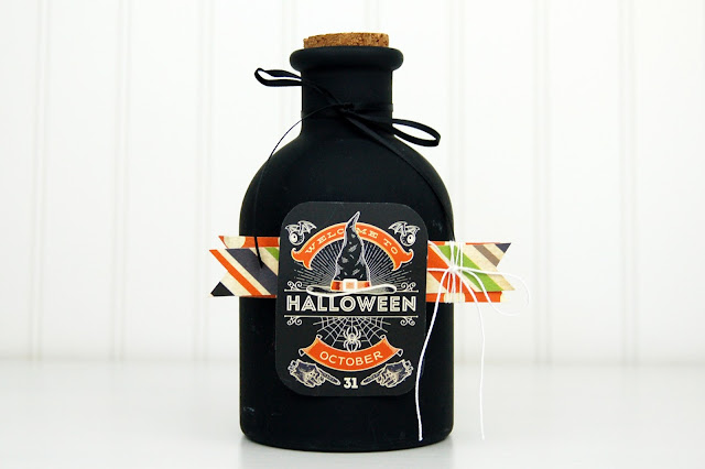 Halloween Apothecary Jar with www.jengallacher.com. #kidcraft #halloween #papercraft