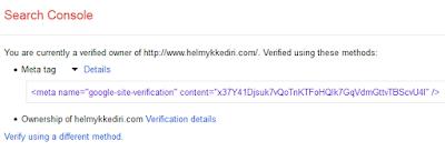 Mengembalikan kode verifikasi google webmaster2