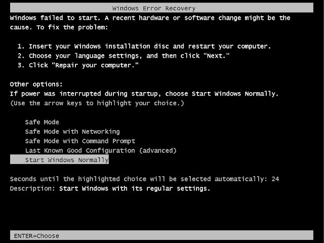 cara mengatasi windows error recovery