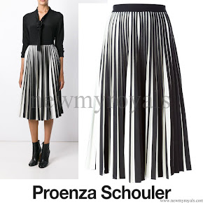 Queen Rania Style Proenza Schouler pleated midi skirt