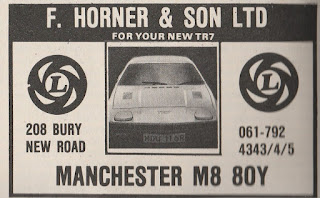 F Horner & Son Ltd, Manchester advert from What Car magazine July 1977