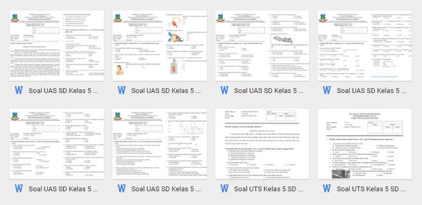 Soal UTS UAS SD Kelas 1 2 3 4 5 6 Kurikulum 2013 Semester 1 Format Microsoft Word