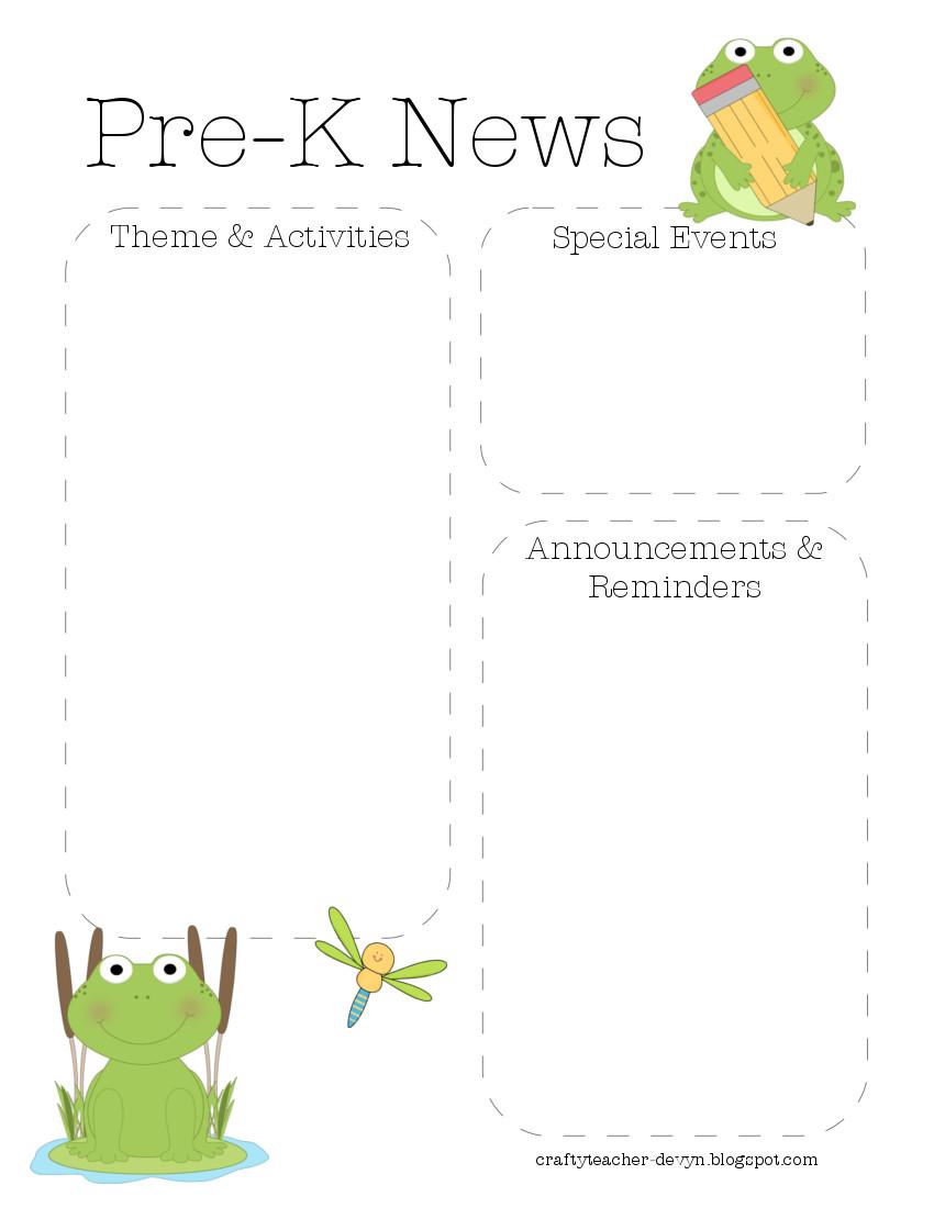 frognewsletterprek Editable Pre K Newsletter Templates on pre k bar graphs, pre k word wall, pre k powerpoint, pre k weather chart, pre k brochures,