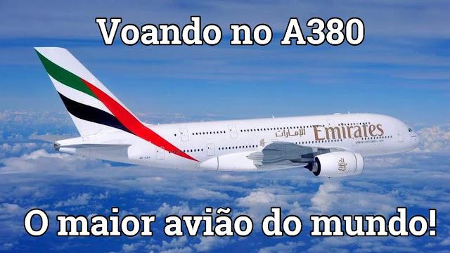 Sobrevoando Dubai no A380 da Emirates