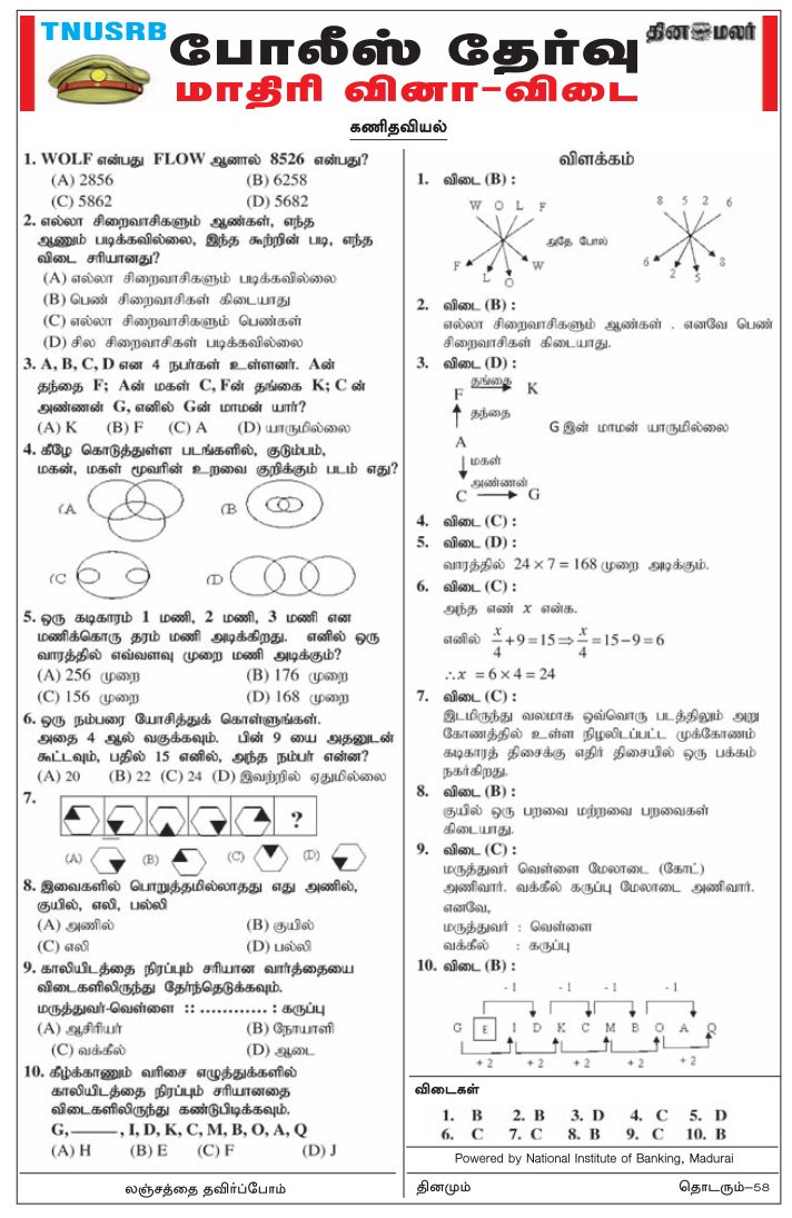 TN Police Maths Model Papers Feb 27, 2018 (Dinamalar) Download PDF