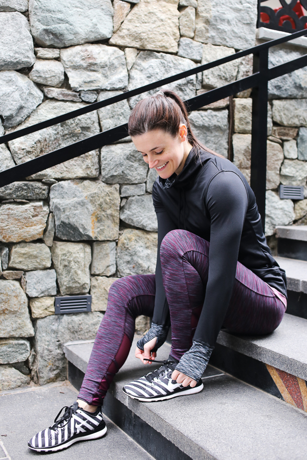 Naturally Me, Spring Workout Outfit, Target activewear, C9 Champion Workout Tank, C9 Champion Workout Leggings with Mesh, Burgundy Activewear, Nike Flyknit Sneakers, Black and White Nike Sneakers