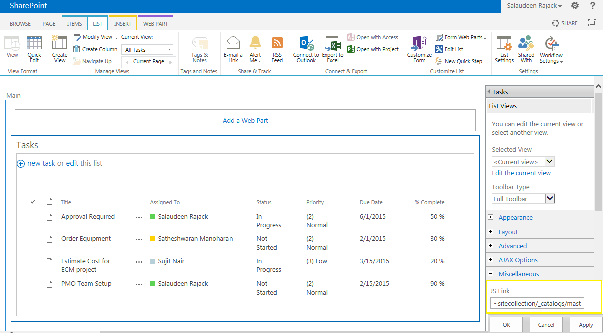 jslink list view sharepoint 2013