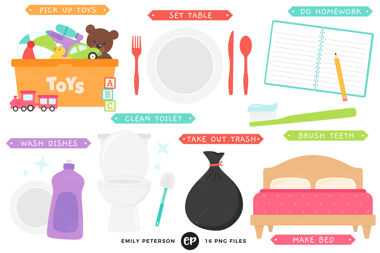 Chores for Kids Clipart, Emily Peterson