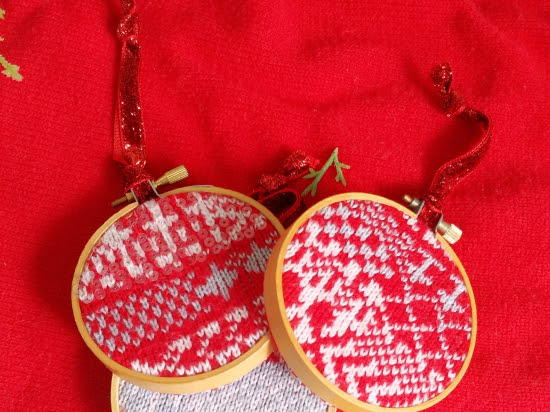 Ugly Sweater & Embroidery Hoop Ornaments - Twelve Days of Christmas