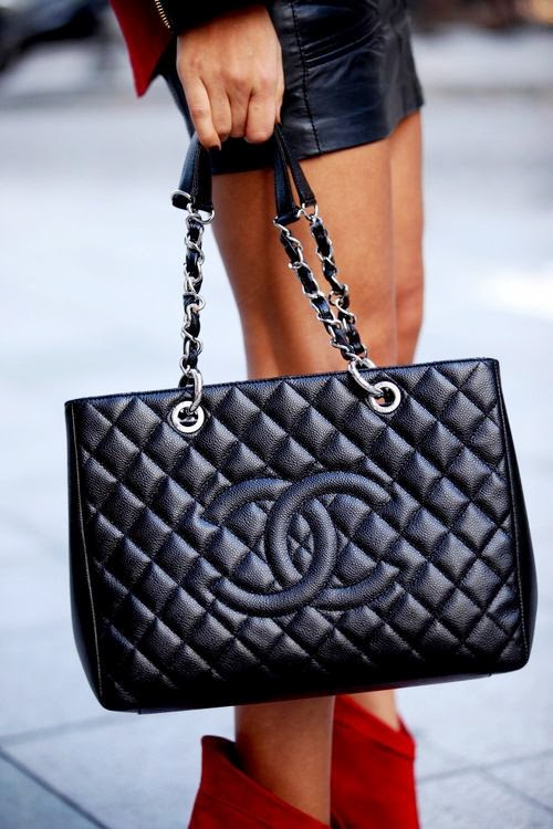 Chanel black shopper bag
