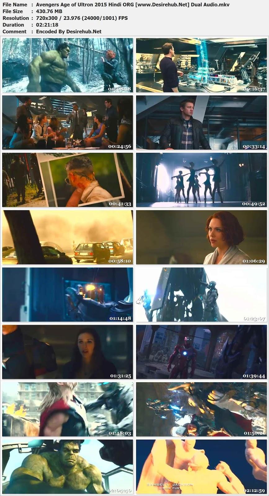 Avengers Age Of Ultron (2015) 480p Bluray Dual Audio Hindi 400MB Desirehub