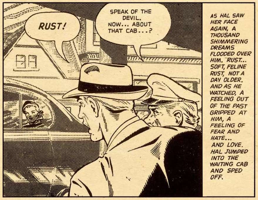 A close-up of Hal with cab driver seeing Rust Masson on the street followed by long caption