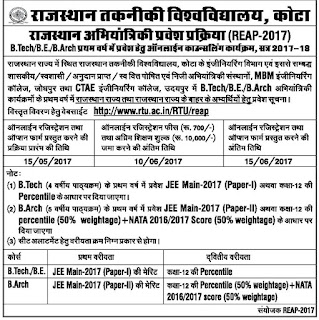 Rajasthan Technical University Engineering Admissions RTU REAP/ LEEP 2017 Online Application Form