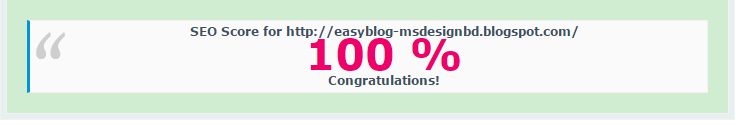 SEO score of easy blog template