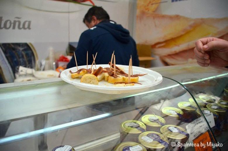 北スペインのカンタブリア地方のアンチョビの試食