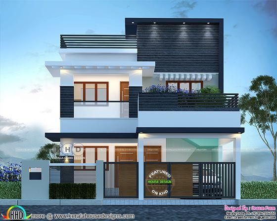 Modern house with black texture on front walls