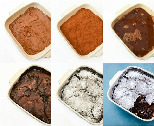 Step-by-step shots of dark chocolate magic pudding, a self-saucing pudding