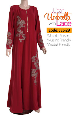 Jubah Umbrella Lace JEL-29 Red Depan 2