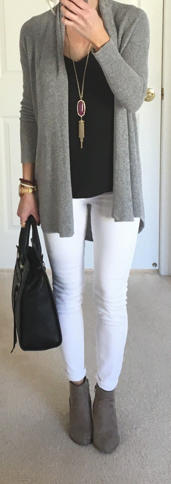 stylish look : grey cardi + black top + bag + white skinnies + boots