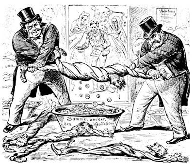 Ο καπιταλισμός ξεζουμίζει τους εργάτες - παλιά γελοιογραφία / Capitalism draining the workers, old political cartoon