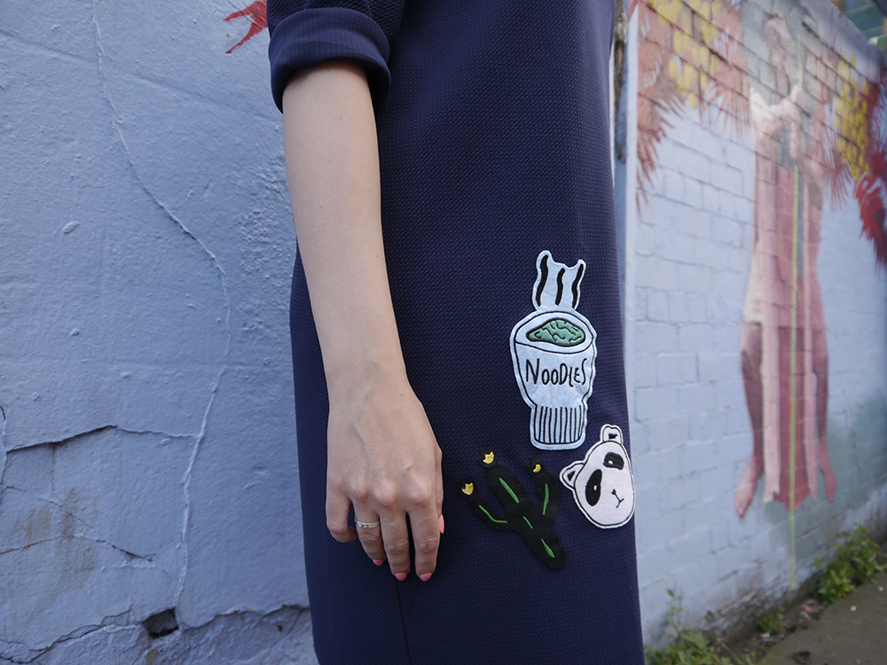 blue outfit, oversized slouchy dress, modern fashion silhouette, uk style blogger, wardrobe conversations, sew on patch, the whitepepper,